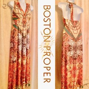 Boston Proper XL Tribal Print Halter Maxi Dress